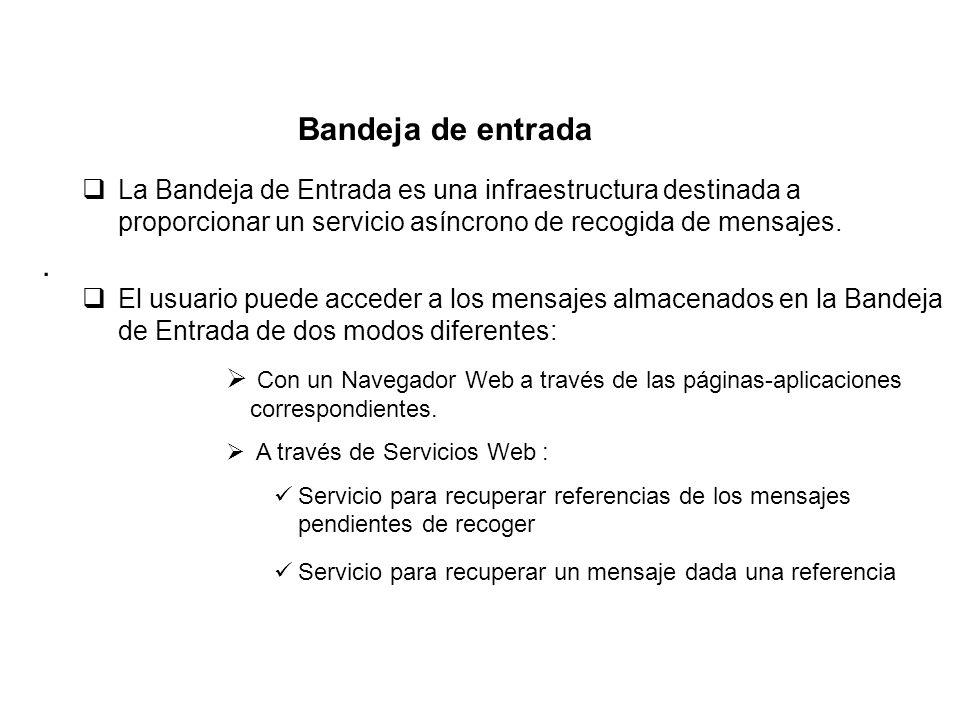 Bandeja de entrada La Bandeja de Entrada es una infraestructura destinada a proporcionar un servicio asíncrono de recogida de mensajes.