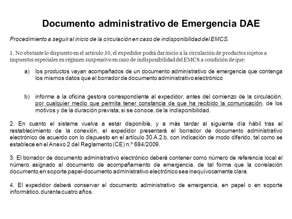 Documento administrativo de Emergencia DAE