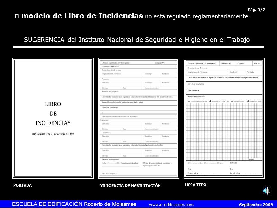 SUGERENCIA del Instituto Nacional de Seguridad e Higiene en el Trabajo