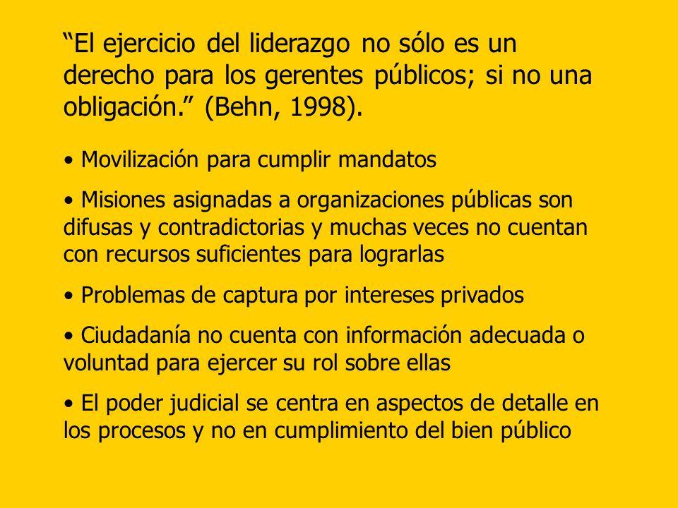El ejercicio del liderazgo no sólo es un derecho para los gerentes públicos; si no una obligación. (Behn, 1998).