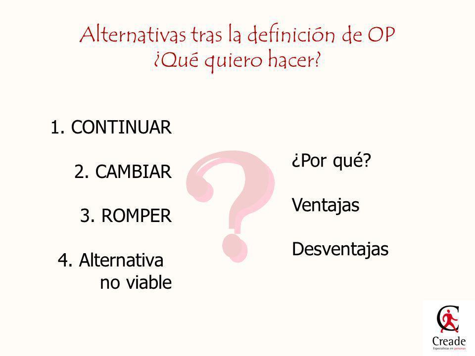 Alternativas tras la definición de OP ¿Qué quiero hacer