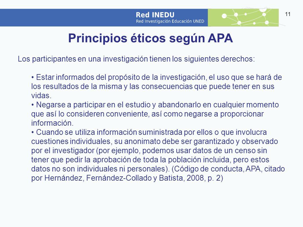 Principios éticos según APA