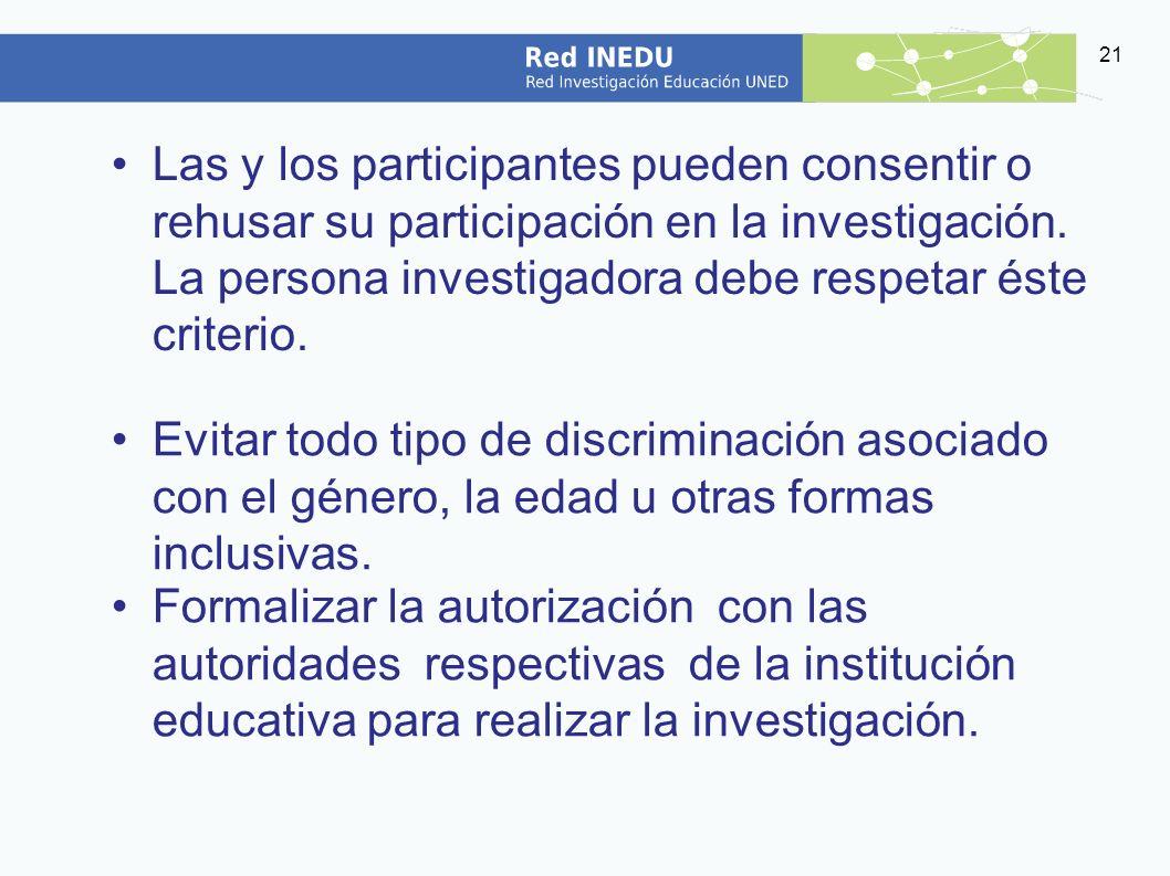 Las y los participantes pueden consentir o rehusar su participación en la investigación. La persona investigadora debe respetar éste criterio.