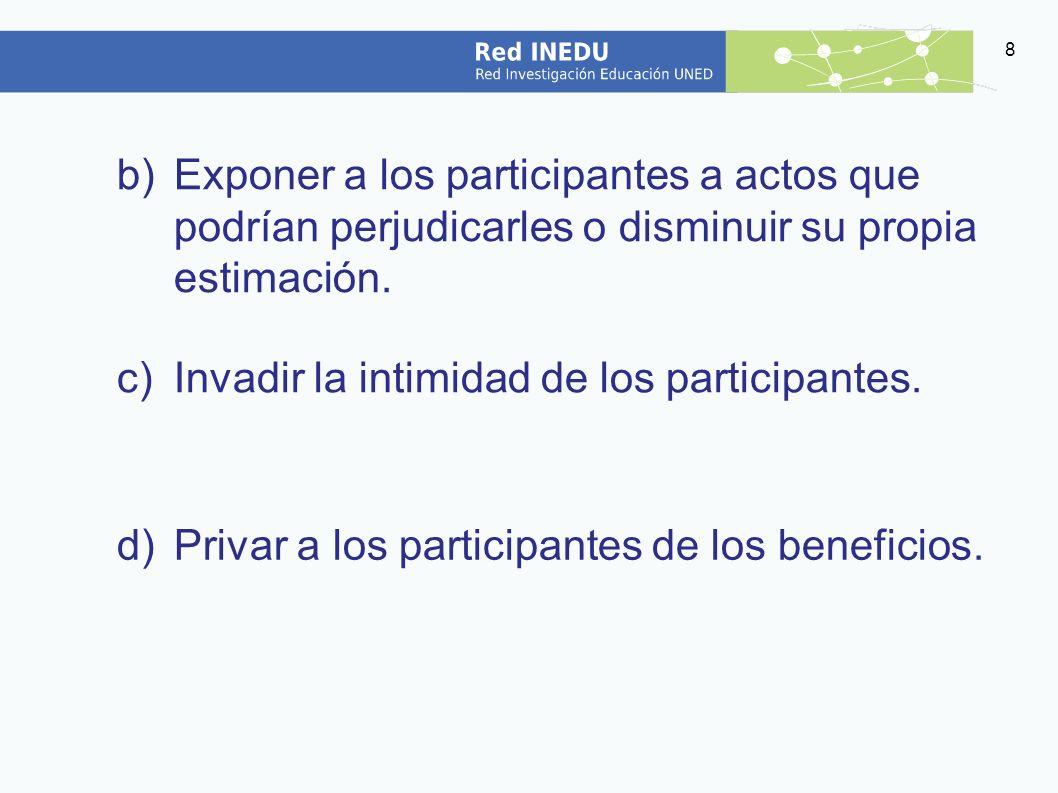 Exponer a los participantes a actos que podrían perjudicarles o disminuir su propia estimación.