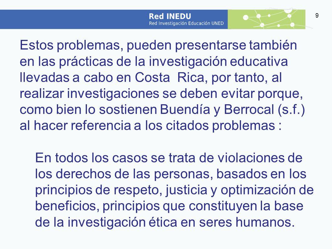 Estos problemas, pueden presentarse también en las prácticas de la investigación educativa llevadas a cabo en Costa Rica, por tanto, al realizar investigaciones se deben evitar porque, como bien lo sostienen Buendía y Berrocal (s.f.) al hacer referencia a los citados problemas :