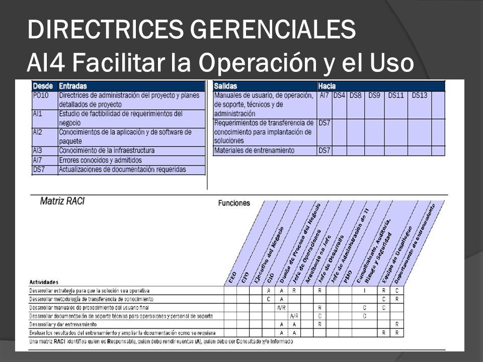 DIRECTRICES GERENCIALES AI4 Facilitar la Operación y el Uso