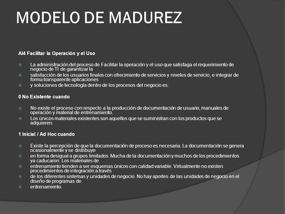 MODELO DE MADUREZ AI4 Facilitar la Operación y el Uso