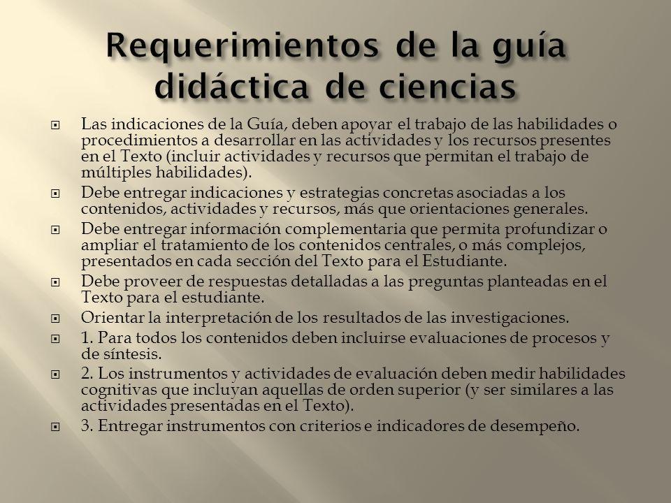 Requerimientos de la guía didáctica de ciencias