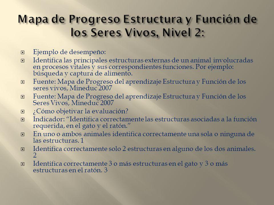 Mapa de Progreso Estructura y Función de los Seres Vivos, Nivel 2: