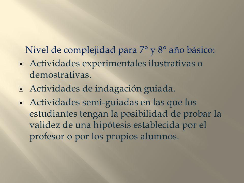 Nivel de complejidad para 7° y 8° año básico: