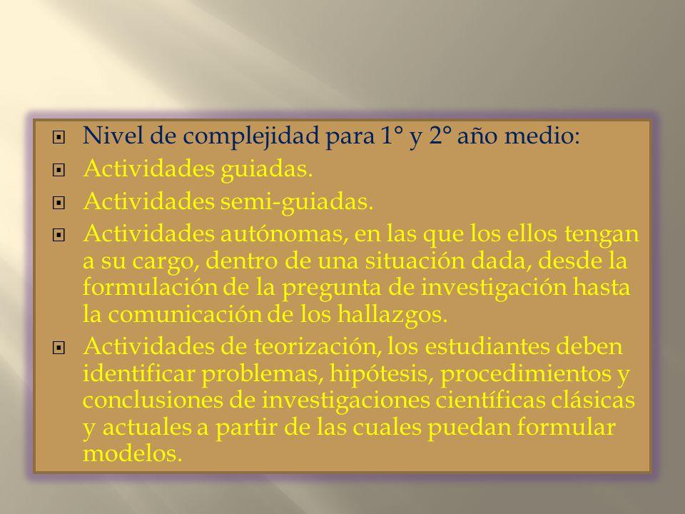 Nivel de complejidad para 1° y 2° año medio: