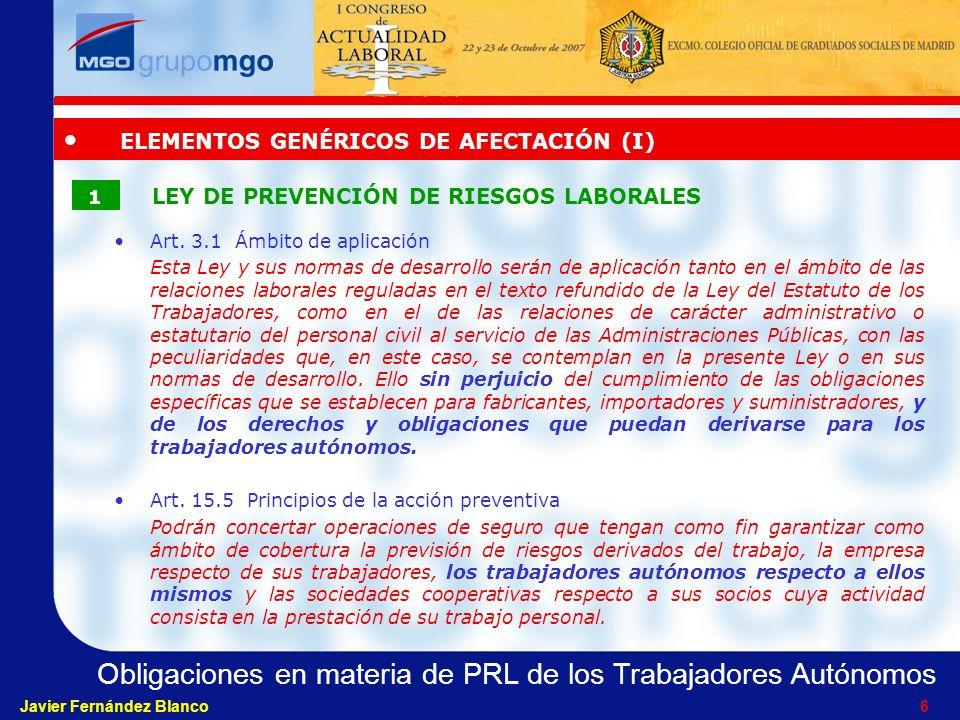 ELEMENTOS GENÉRICOS DE AFECTACIÓN (I)