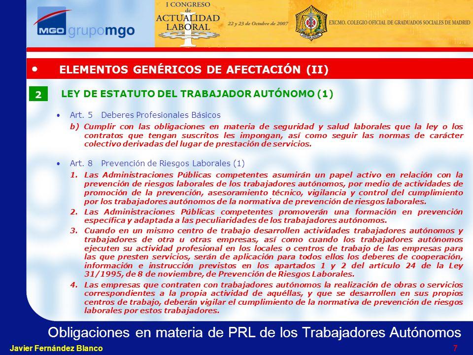 ELEMENTOS GENÉRICOS DE AFECTACIÓN (II)