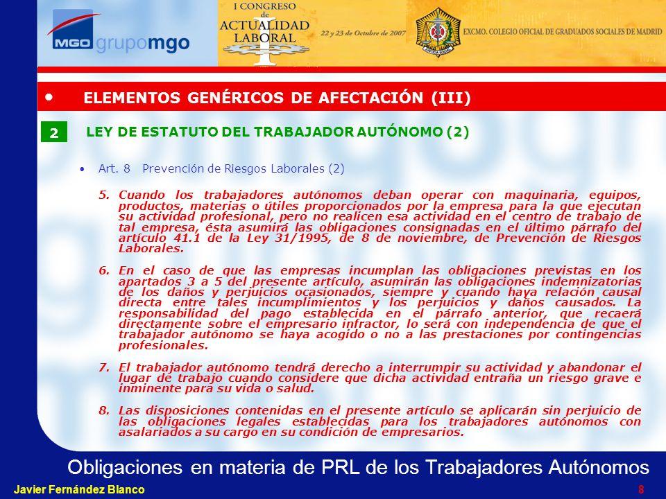 ELEMENTOS GENÉRICOS DE AFECTACIÓN (III)