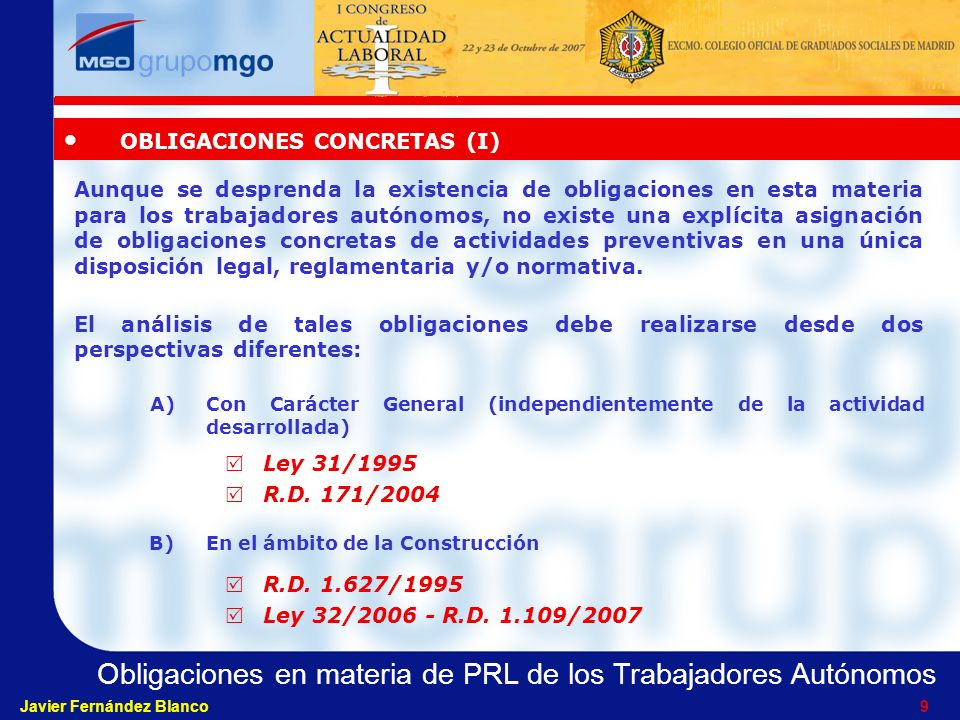 OBLIGACIONES CONCRETAS (I)