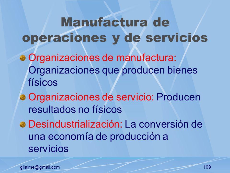 Manufactura de operaciones y de servicios