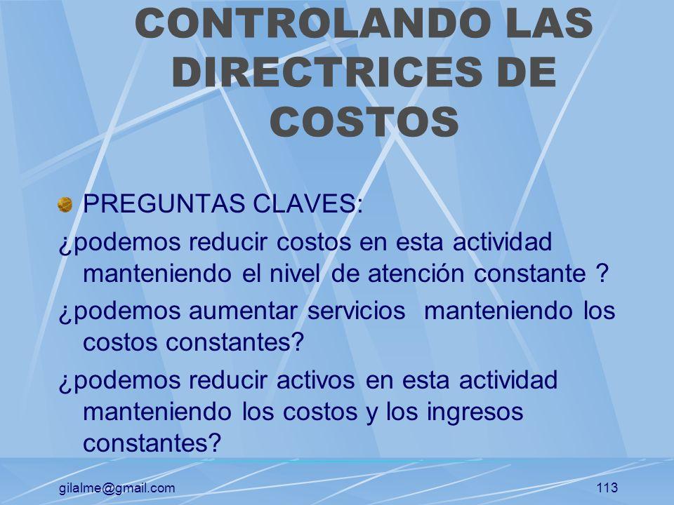 CONTROLANDO LAS DIRECTRICES DE COSTOS