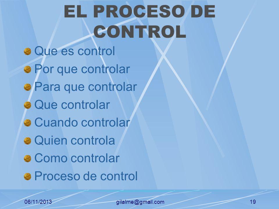 EL PROCESO DE CONTROL Que es control Por que controlar