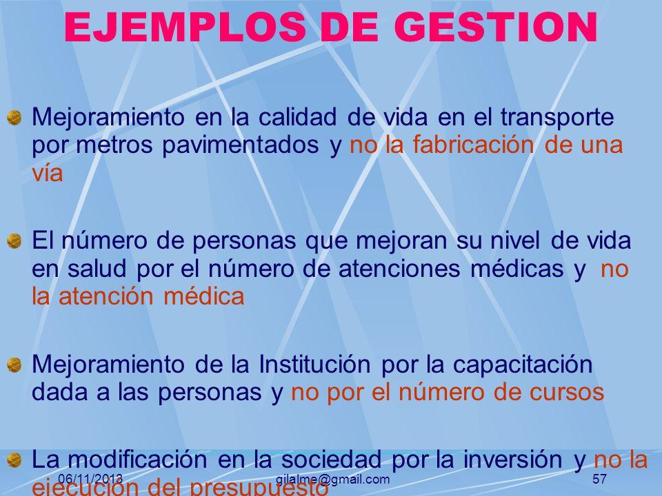 EJEMPLOS DE GESTION Mejoramiento en la calidad de vida en el transporte por metros pavimentados y no la fabricación de una vía.