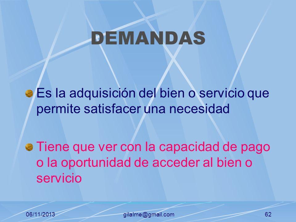 DEMANDAS Es la adquisición del bien o servicio que permite satisfacer una necesidad.