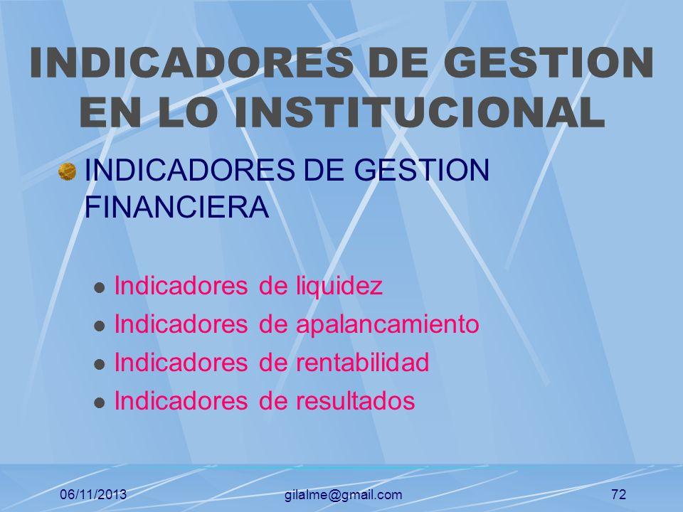 INDICADORES DE GESTION EN LO INSTITUCIONAL