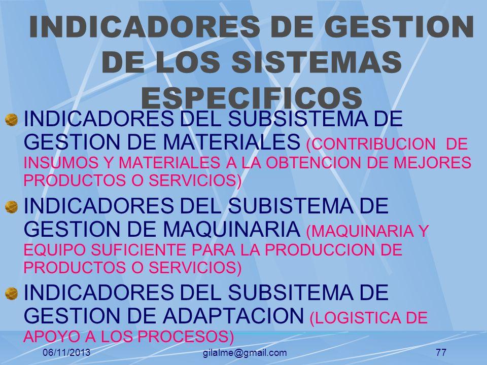 INDICADORES DE GESTION DE LOS SISTEMAS ESPECIFICOS