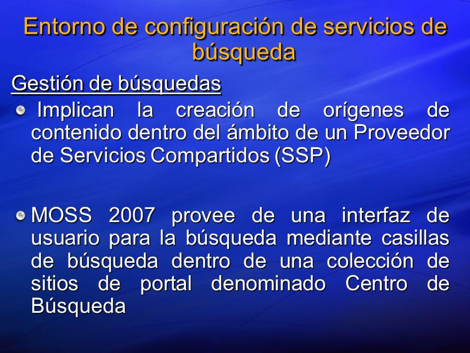 Entorno de configuración de servicios de búsqueda