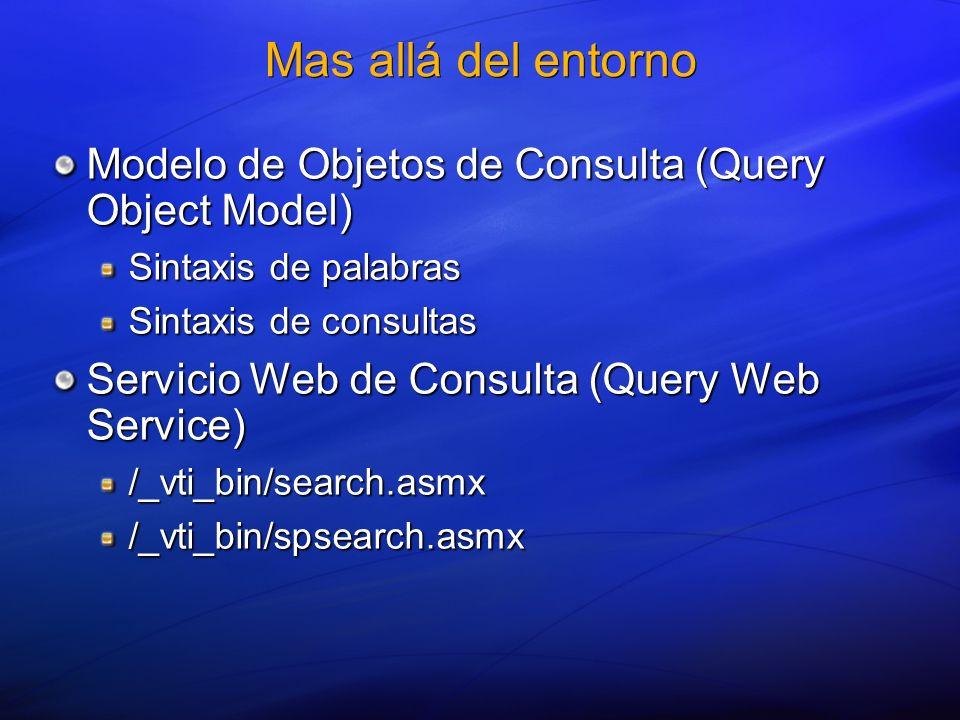 Mas allá del entorno Modelo de Objetos de Consulta (Query Object Model) Sintaxis de palabras. Sintaxis de consultas.