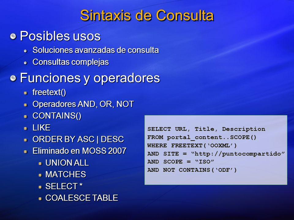 Sintaxis de Consulta __