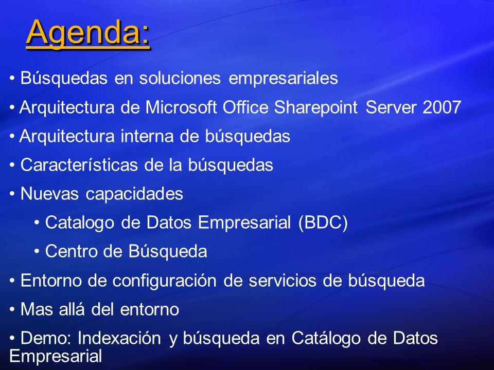 Agenda: Búsquedas en soluciones empresariales