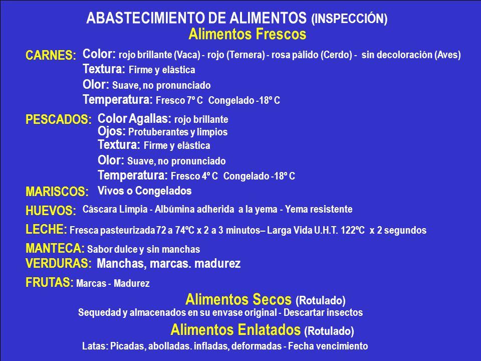 ABASTECIMIENTO DE ALIMENTOS (INSPECCIÓN) Alimentos Frescos