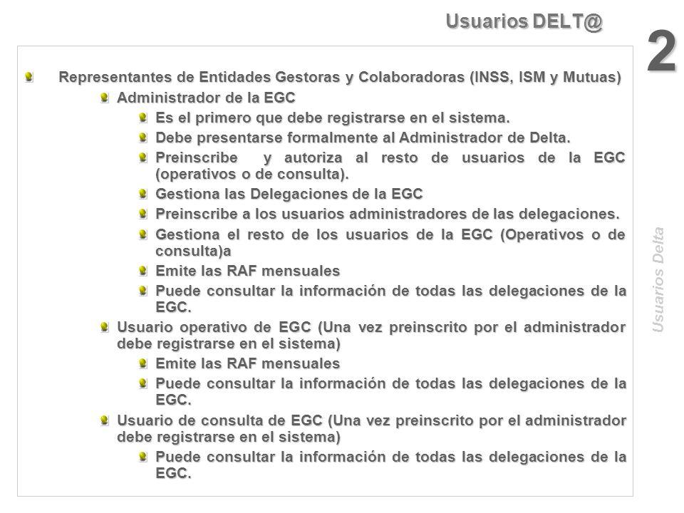 Usuarios DELT@ 2. Representantes de Entidades Gestoras y Colaboradoras (INSS, ISM y Mutuas) Administrador de la EGC.