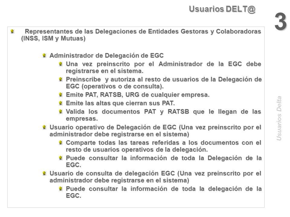 Usuarios DELT@ 3. Representantes de las Delegaciones de Entidades Gestoras y Colaboradoras (INSS, ISM y Mutuas)