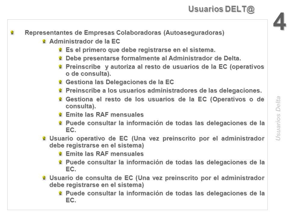Usuarios DELT@ 4. Representantes de Empresas Colaboradoras (Autoaseguradoras) Administrador de la EC.