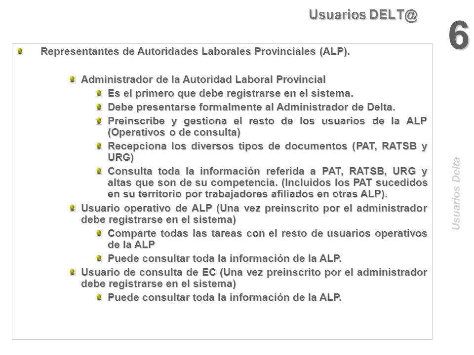 Usuarios DELT@ 6. Representantes de Autoridades Laborales Provinciales (ALP). Administrador de la Autoridad Laboral Provincial.