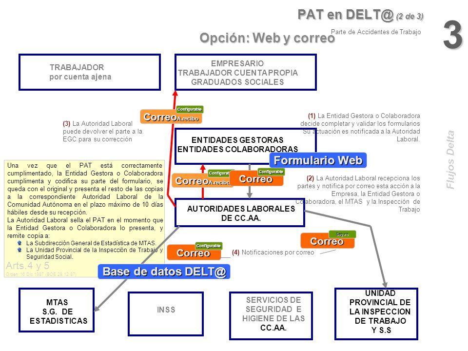 3 PAT en DELT@ (2 de 3) Opción: Web y correo Formulario Web