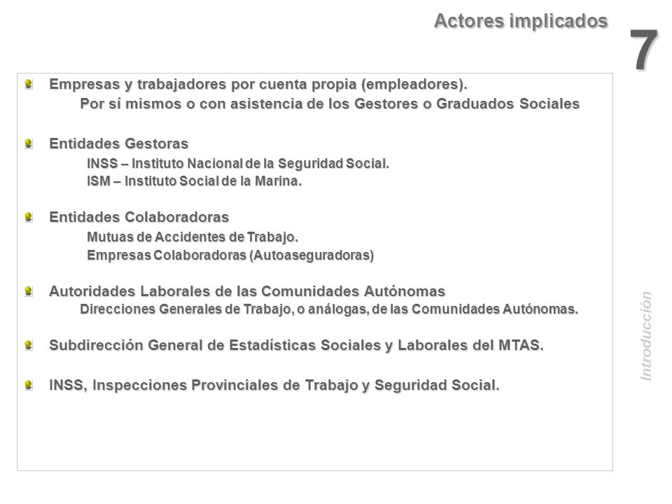 Actores implicados 7. Empresas y trabajadores por cuenta propia (empleadores). Por sí mismos o con asistencia de los Gestores o Graduados Sociales.