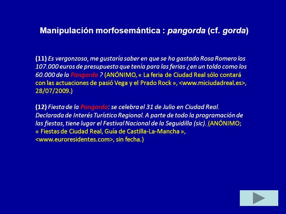 Manipulación morfosemántica : pangorda (cf. gorda)