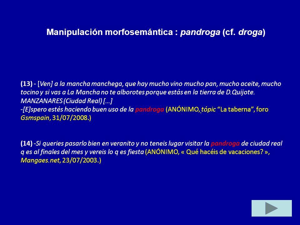 Manipulación morfosemántica : pandroga (cf. droga)