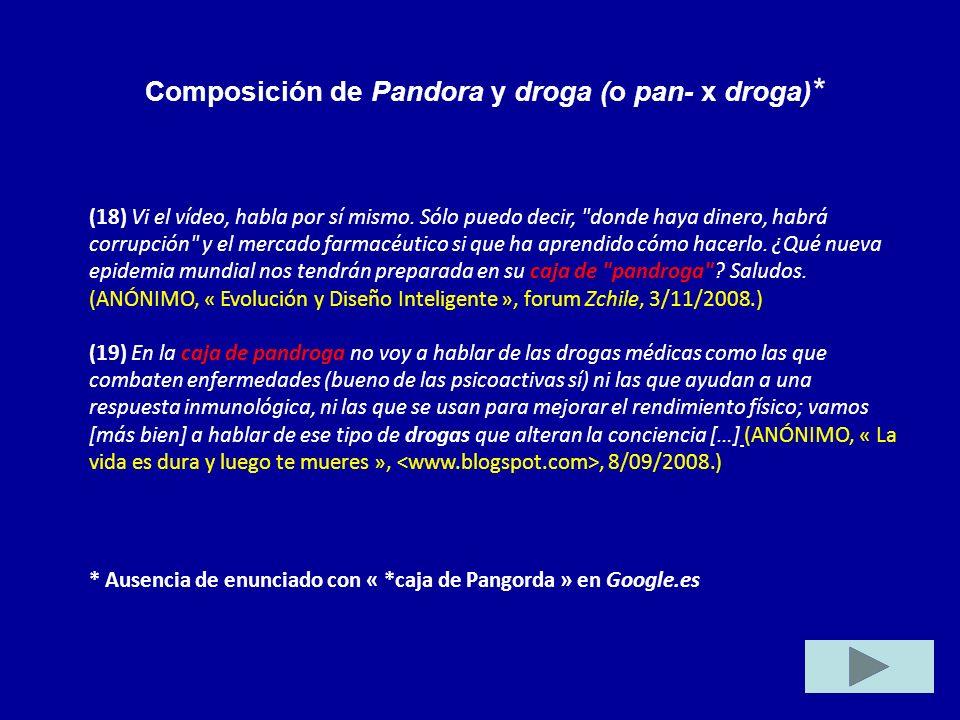 Composición de Pandora y droga (o pan- x droga)*