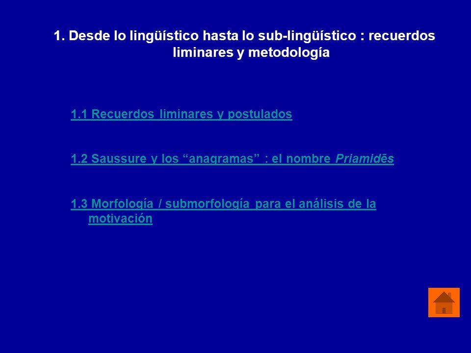 1. Desde lo lingüístico hasta lo sub-lingüístico : recuerdos liminares y metodología