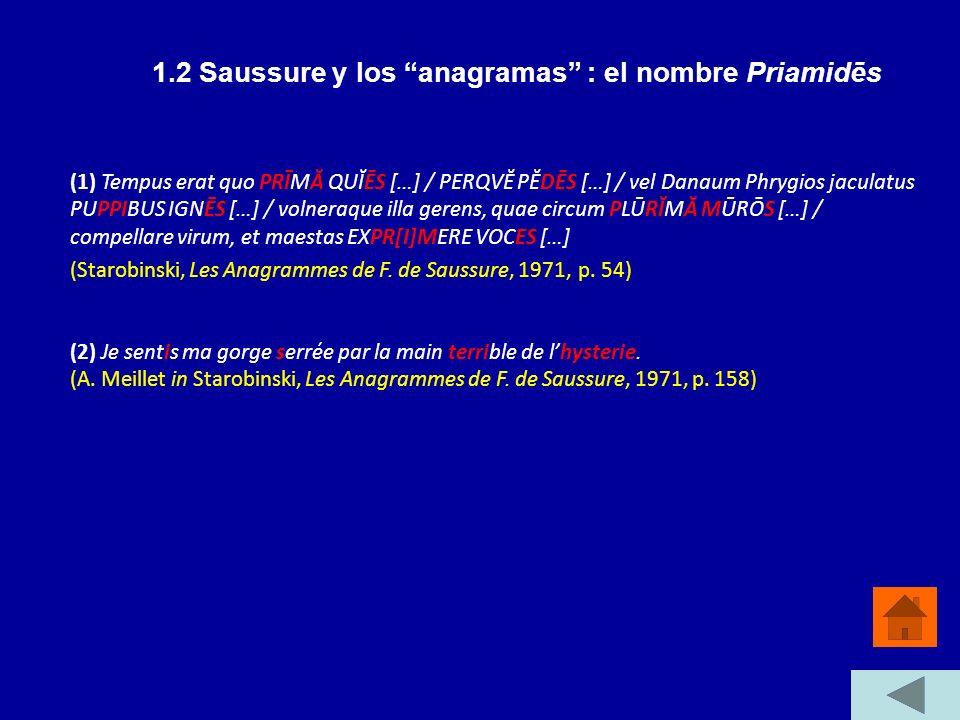 1.2 Saussure y los anagramas : el nombre Priamidēs