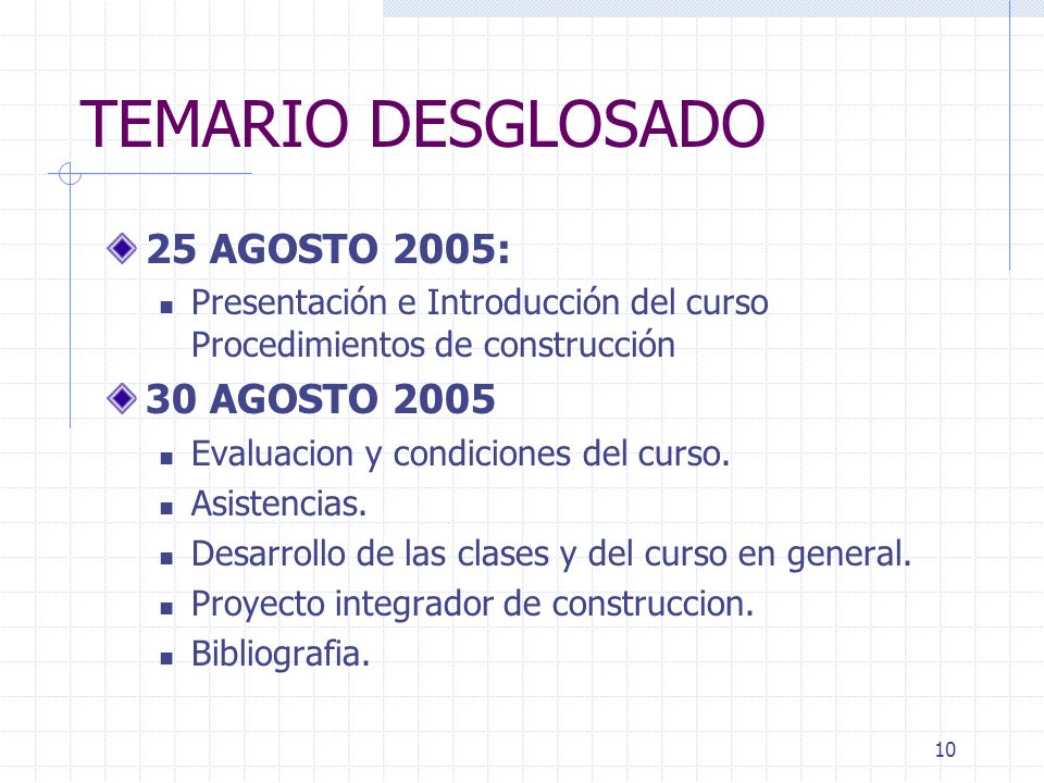 TEMARIO DESGLOSADO 25 AGOSTO 2005: 30 AGOSTO 2005