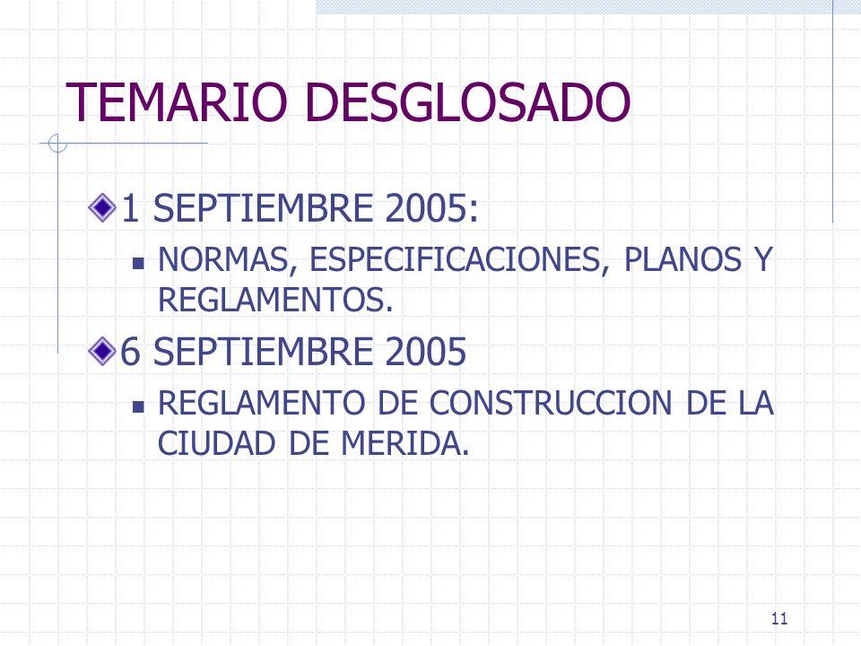 TEMARIO DESGLOSADO 1 SEPTIEMBRE 2005: 6 SEPTIEMBRE 2005