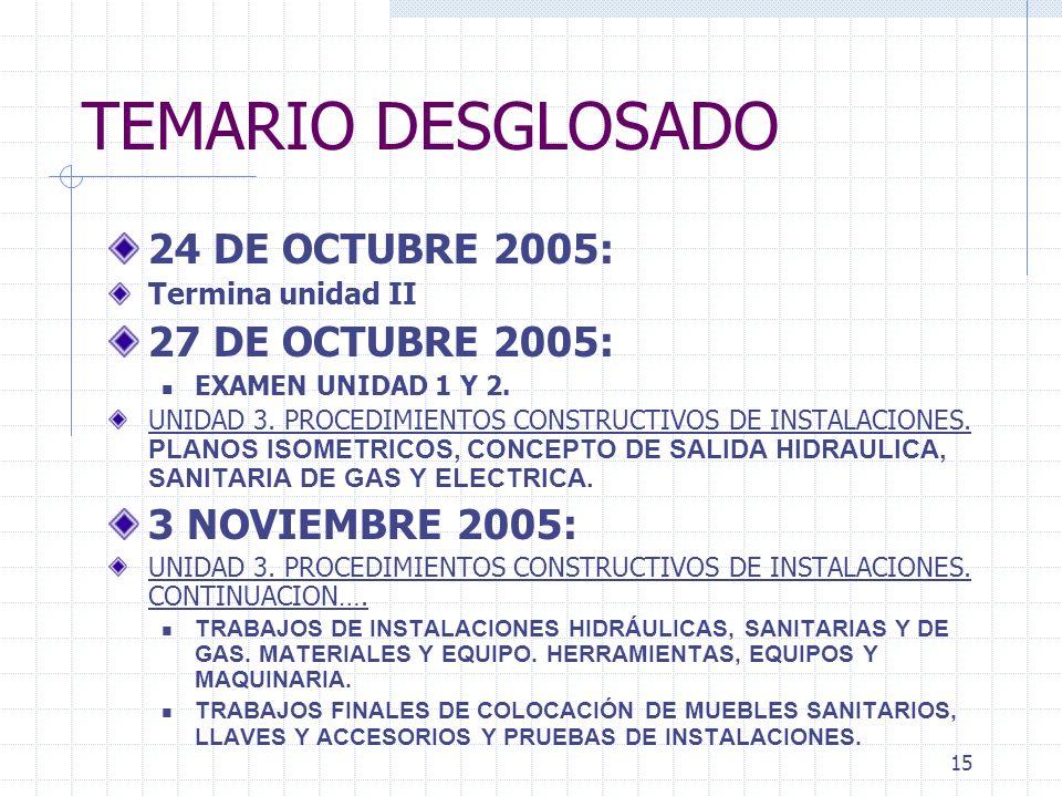 TEMARIO DESGLOSADO 24 DE OCTUBRE 2005: 27 DE OCTUBRE 2005: