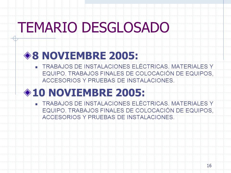 TEMARIO DESGLOSADO 8 NOVIEMBRE 2005: 10 NOVIEMBRE 2005: