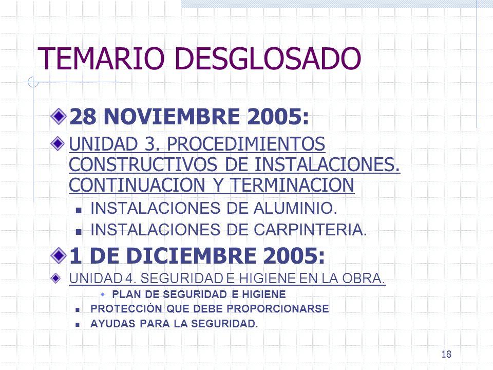 TEMARIO DESGLOSADO 28 NOVIEMBRE 2005: 1 DE DICIEMBRE 2005: