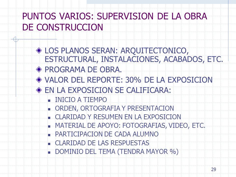 PUNTOS VARIOS: SUPERVISION DE LA OBRA DE CONSTRUCCION