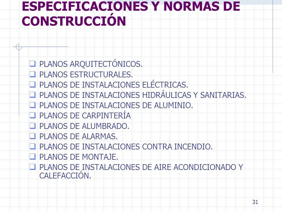UNIDAD I. PLANOS, ESPECIFICACIONES Y NORMAS DE CONSTRUCCIÓN