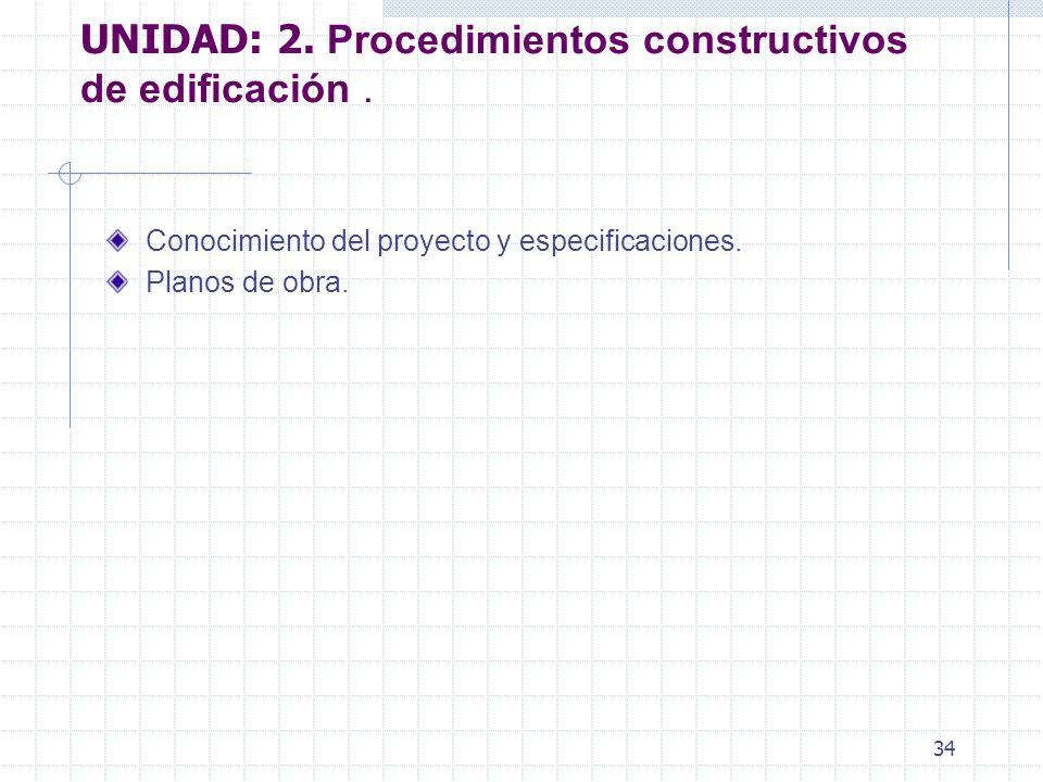 UNIDAD: 2. Procedimientos constructivos de edificación .